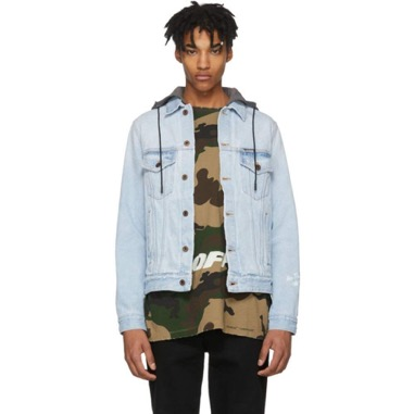 Off-White/Blue Denim Hoodie Jacke