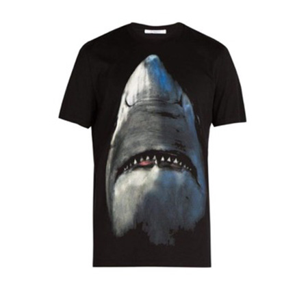 Cuban-fit Shark-print cotton T-shirt