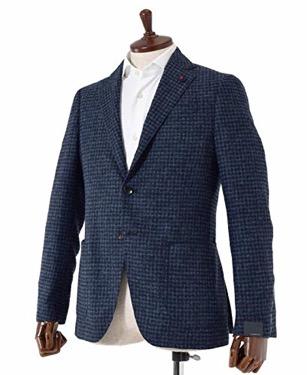 EASY 3Bアルパカウールナイロンチェックジャケット