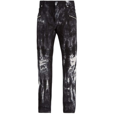 Tie-dye effect skinny biker jeans