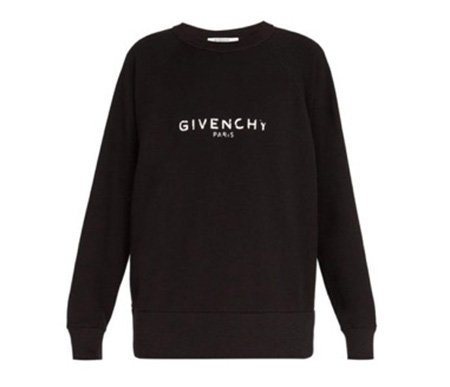 Distressed-logo cotton sweatshi