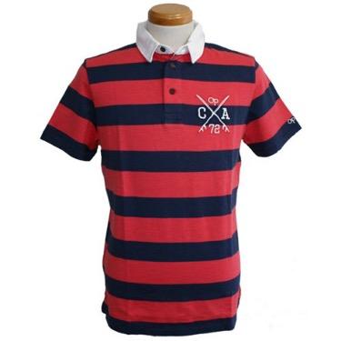 ポロシャツ 赤×ネイビーボーダー