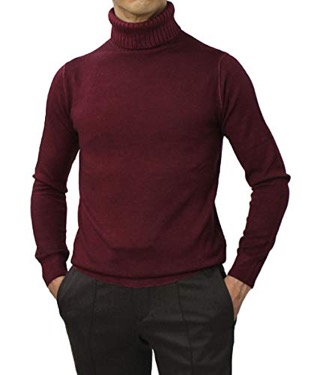 編地切り替えタートルネックセーター