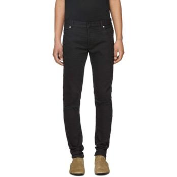 Six-Pocket Distressed Biker Jeans