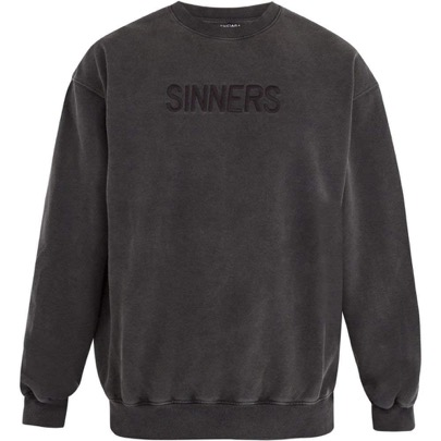 Oversized Sinners-embroidered cotton sweatshirt