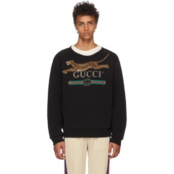 Black Classic Leopard Sweatshirt