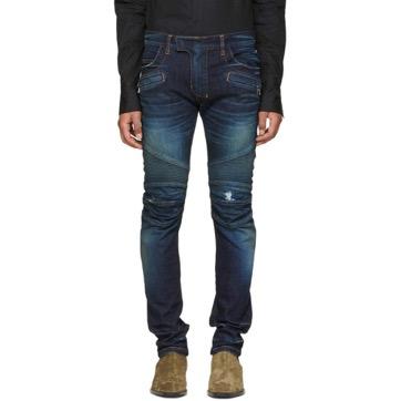 Blue Vintage Distressed Biker Jeans