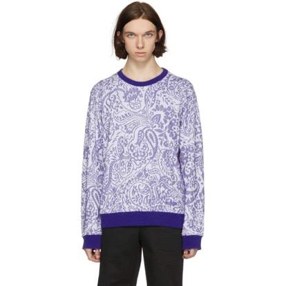 Blue Paisley Print Sweatshirt