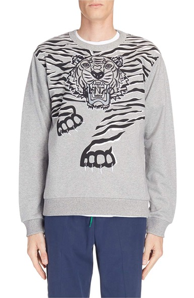 Big Tiger Print & Embroidered Sweat
