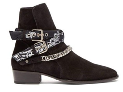 Amiri/Bandana & chain ankle-strap suede ankle boots