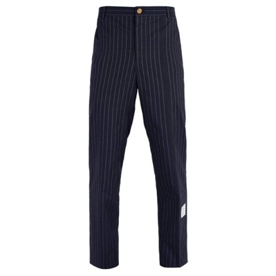 Chalk-stripe cotton chino trousers