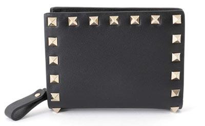 VALENTINO/ロックスタッズ装飾レザー二つ折り財布