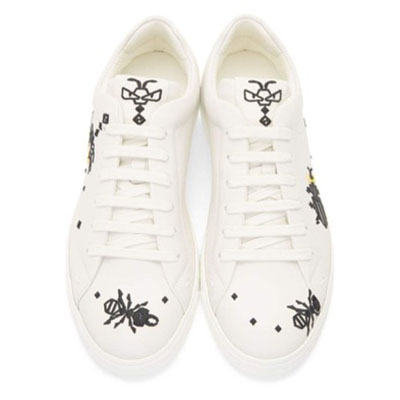White Leather 'Super Bugs' Sneakers