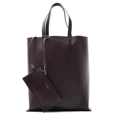 TOTE BAG WITH PERFORATED YSL INTITIALS