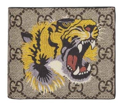 Gucci/Beige GG Supreme Tiger Bifold Wallet