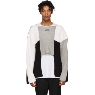 Black & Grey Panelled Crewneck Sweater