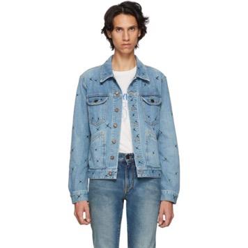 Blue X-Detail Denim Jacket
