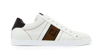 Logo-embroidered low-top leather trainers