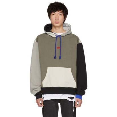 SSENSE Exclusive Grey Colorblocked Hoodie