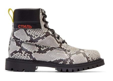 Black & Beige Python Boots