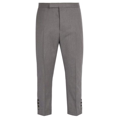 Tri-colour cuff-trim wool trousers