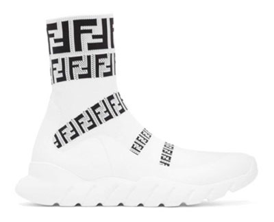 White 'Forever Fendi' Knit High-Top Sneakers