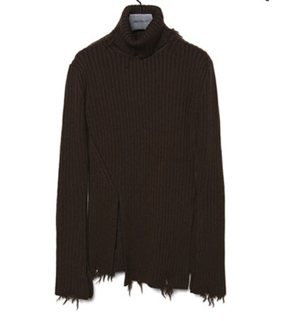CHRISTIAN DADA/Damaged Ribbed Turtleneck Knit Sweater