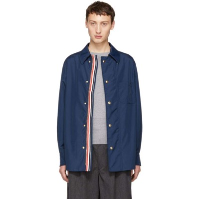 Navy Tech Zip-Up Overshirt Jacket