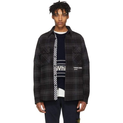Off-White/Grey & Black Flannel Quote Shirt