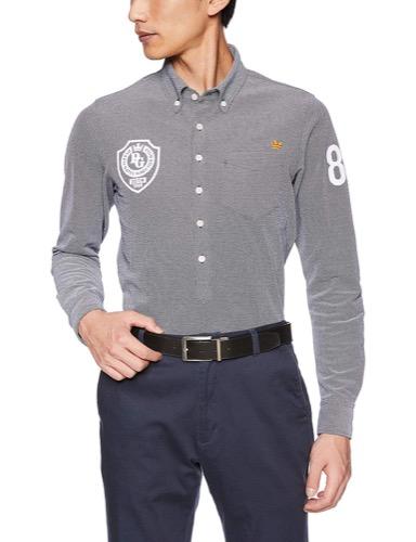 エンブレム刺繍長袖ポロシャツ