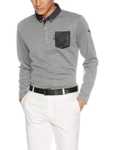 ポケット付き長袖ポロシャツ
