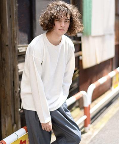 CASPER JOHN/裏起毛ビッグロングTシャツ