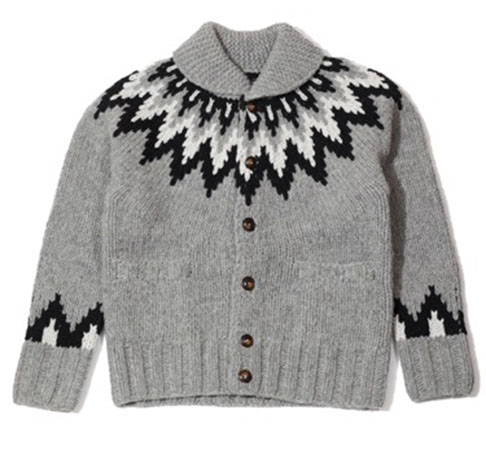 TMT/FEATHER NECKLINE HANDKNIT COWICHAN