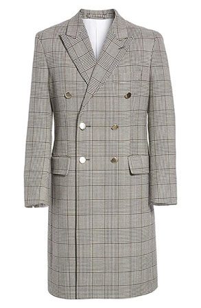 CALVIN KLEIN/Plaid Overcoat