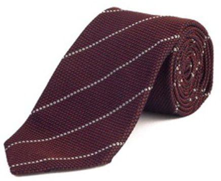 Textured Striped Silk Tie Maroon