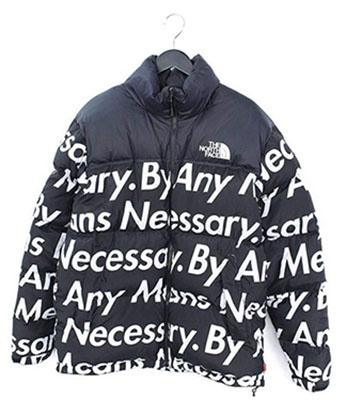 SUPREME ×ノースフェイス 【Nuptse Jacket】フォント総柄ダウンジャケット