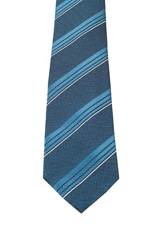 Striped Blue Tie In Silk
