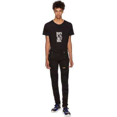 Balmain/Black Distressed Basic Biker Jeans