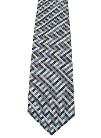 Checked Blue Tie In Silk