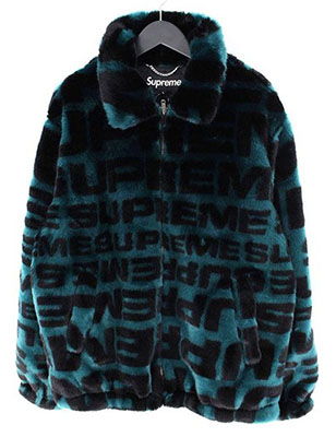 【Faux Fur Repeater Bomber】フォント総柄ファージャケット