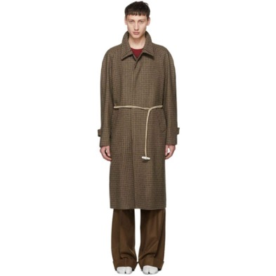 Maison Margiela/Brown Houndstooth Top Coat