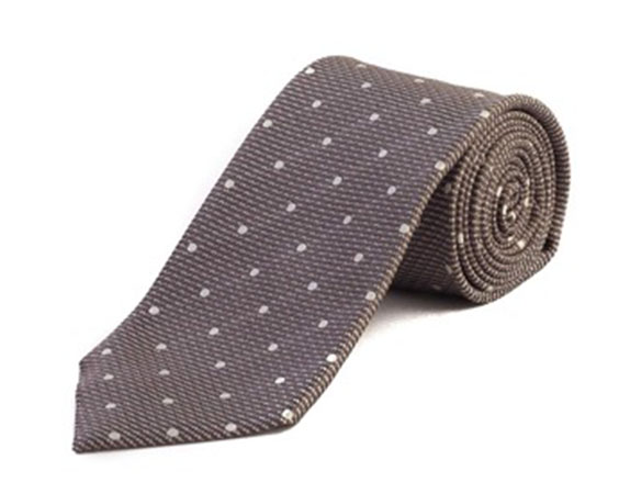 Dot Silk Tie Grey