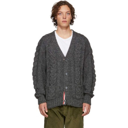 Thom Browne/Grey Aran Cable Raglan Sleeve V-Neck Cardigan