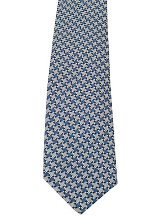 Patterned Blue Tie In Silk