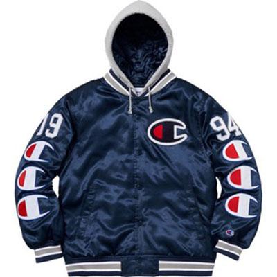 Supreme/Champion Hooded Satin Varsity Jacket