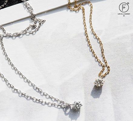 K10WGダイヤモンド(0.08ct)ネックレス