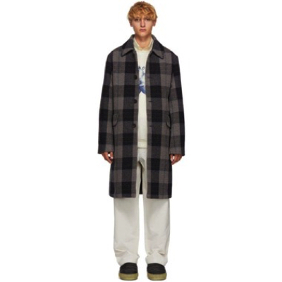 Acne Studios/Grey Wool Check Coat