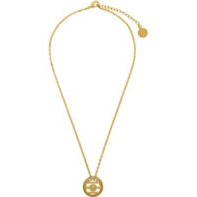 Gold Round Cage Medusa Necklace