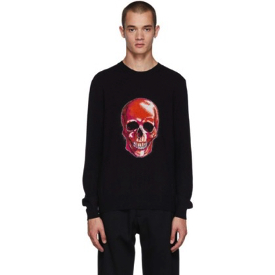 Alexander McQueen/Black Wool & Mohair Skull Sweater