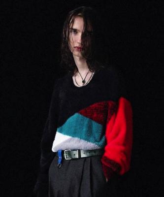 DIET BUTCHER SLIM SKIN /Bi color shaggy knit pullover
